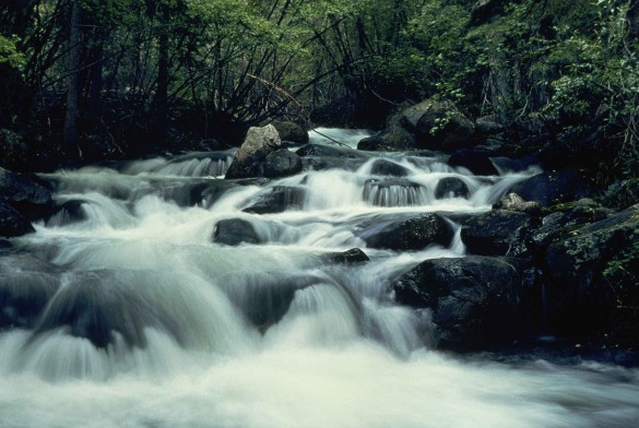 Fast_mountain_river_makes_a_hazy_waterfall